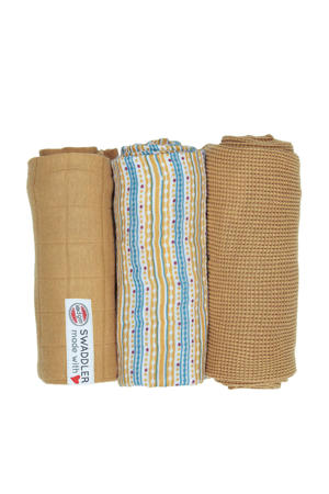 empire stripe hydrofiele doeken 70x70 cm okergeel (set van 3)