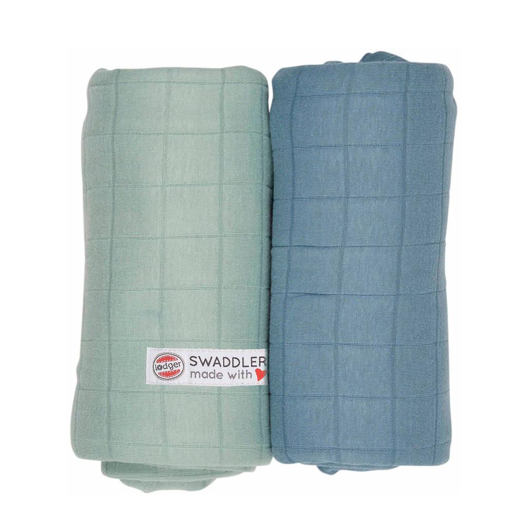 Lodger solid hydrofiele doeken 70x70 cm blauw-groen (set van 2), Blaue-groen
