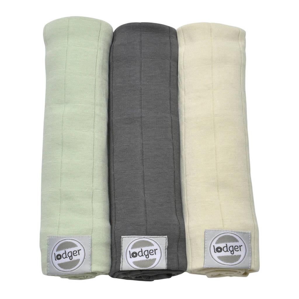 Lodger solid hydrofiele doeken 70x70 cm multi  (set van 3), Multi grijs- groen
