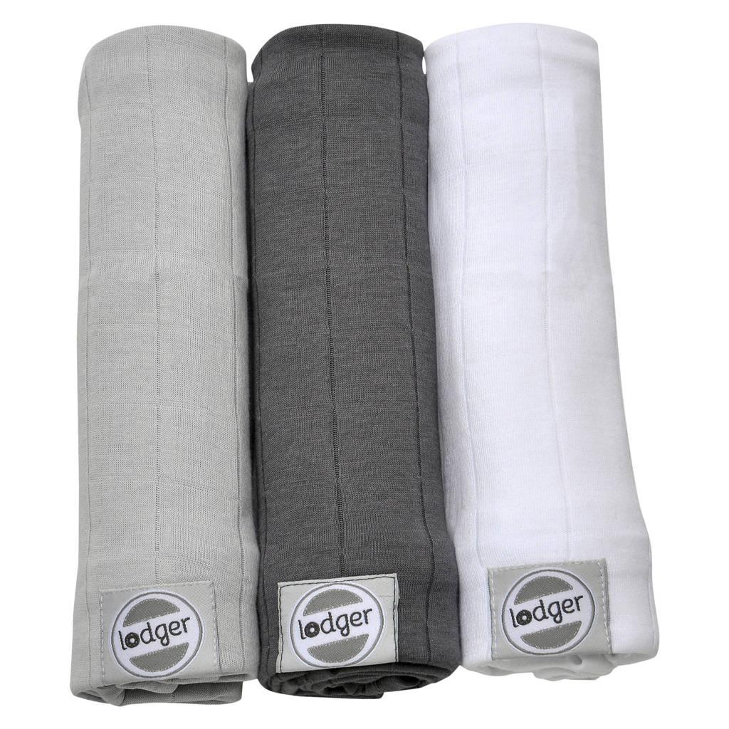 Lodger solid hydrofiele doeken 70x70 cm multi grijs (set van 3), Multi grijs