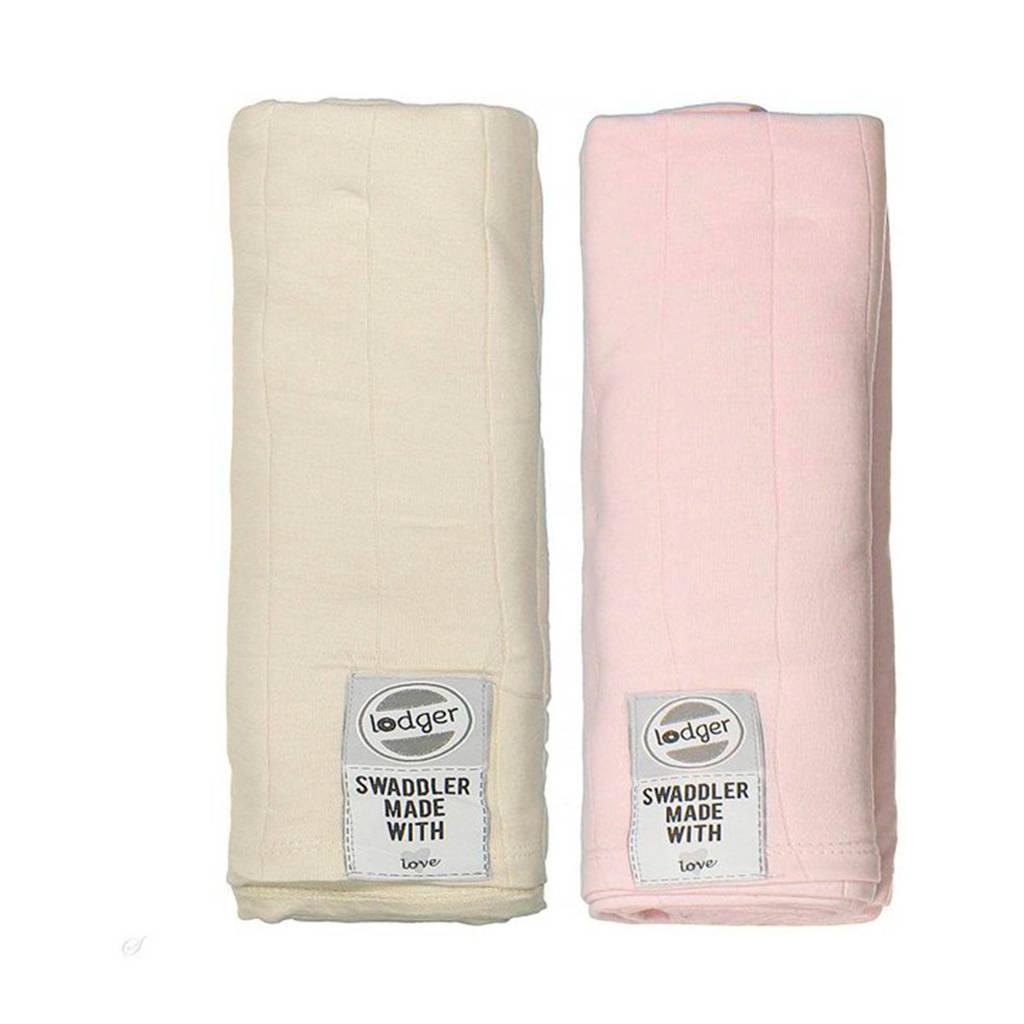 Lodger solid hydrofiele doeken 70x70 cm multi lichtroze (set van 2), lichtroze/ecru