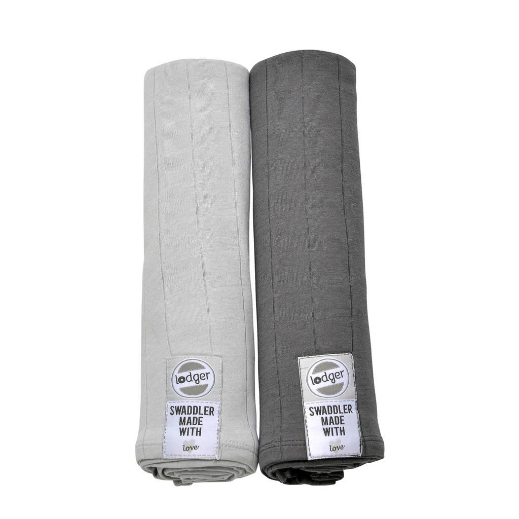 Lodger solid hydrofiele doeken 70x70 cm lichtgrijs-antraciet (set van 2), Lichtgrijs-antraciet