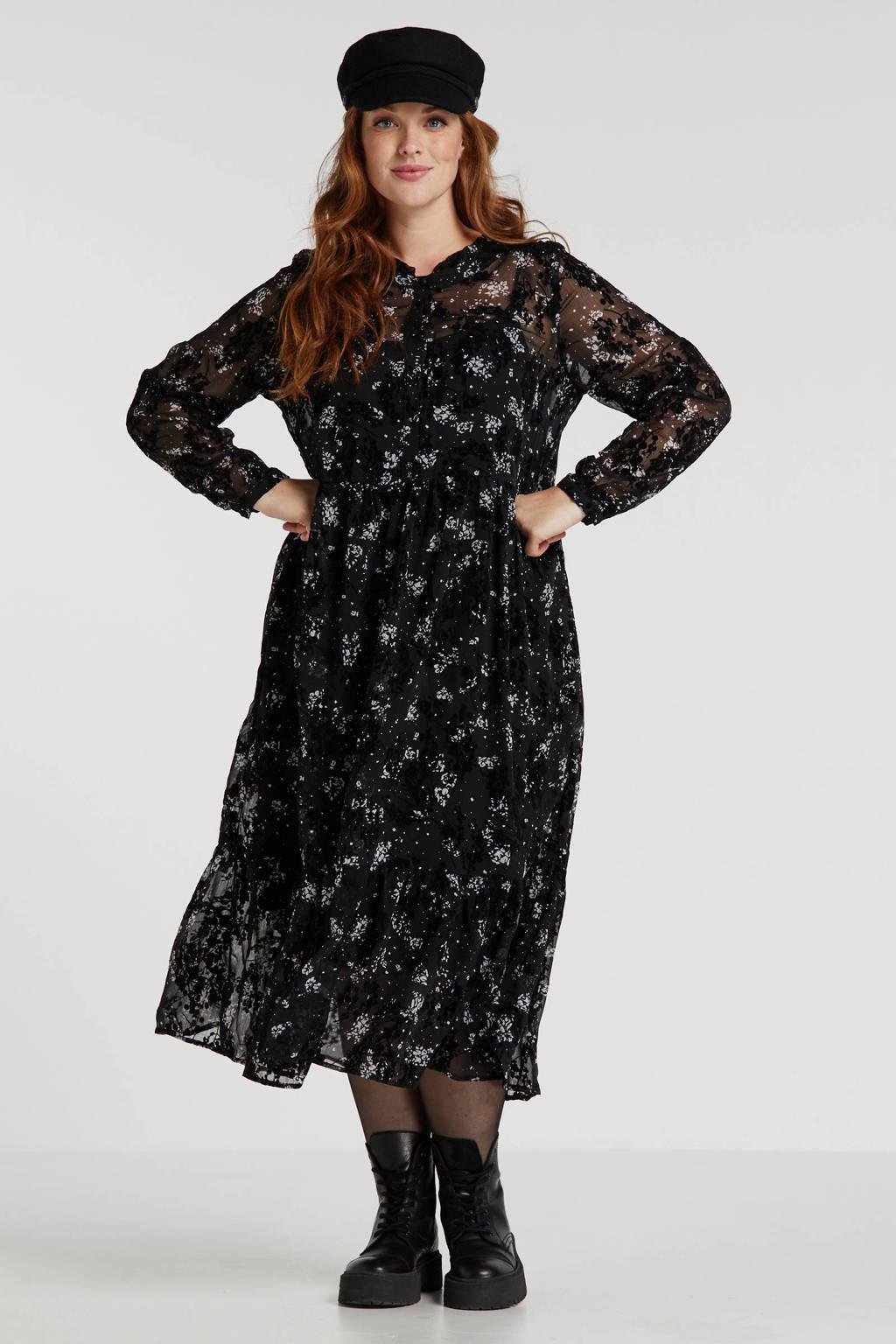 Zay gebloemde semi-transparante jurk zwart/grijs, Zwart/grijs