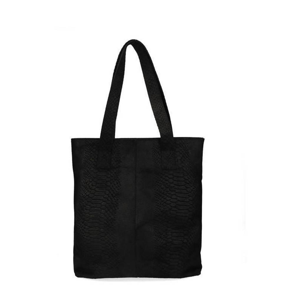 Sacha   leren shopper met slangenprint zwart, Zwart