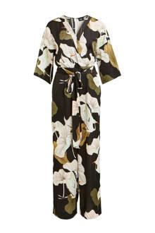 jumpsuit met all over print zwart/bruin/wit