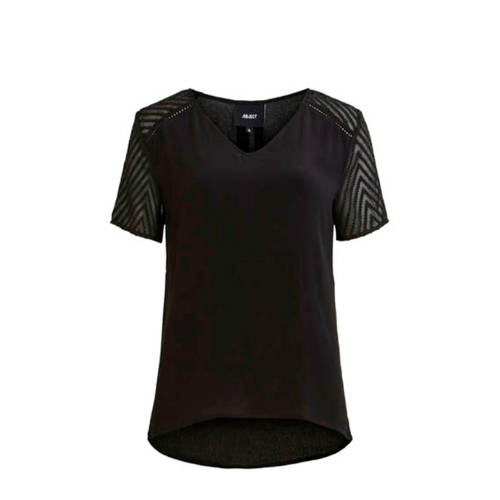 OBJECT semi-transparante top met mesh zwart
