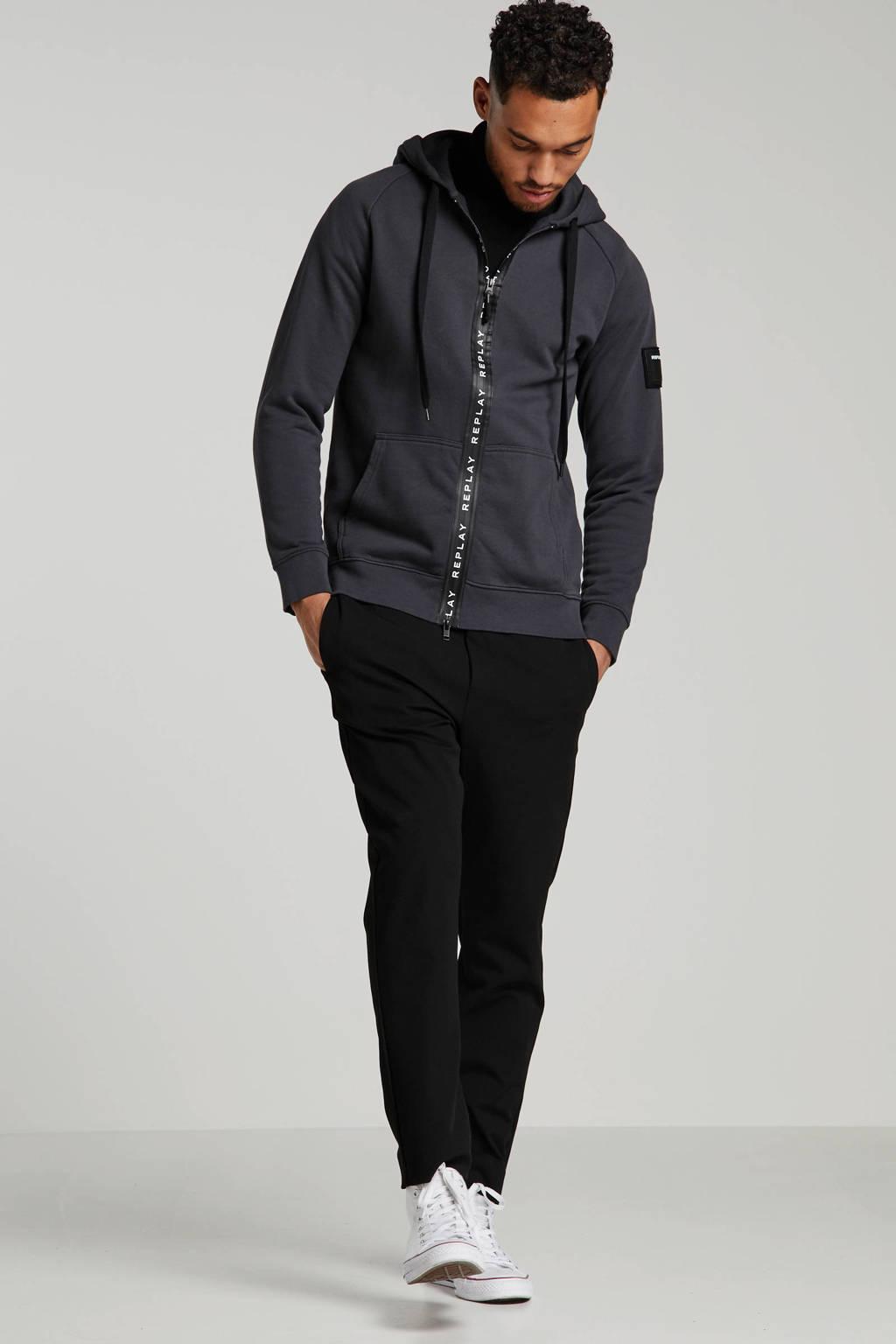 REPLAY vest met tekst antraciet/zwart, Antraciet/zwart