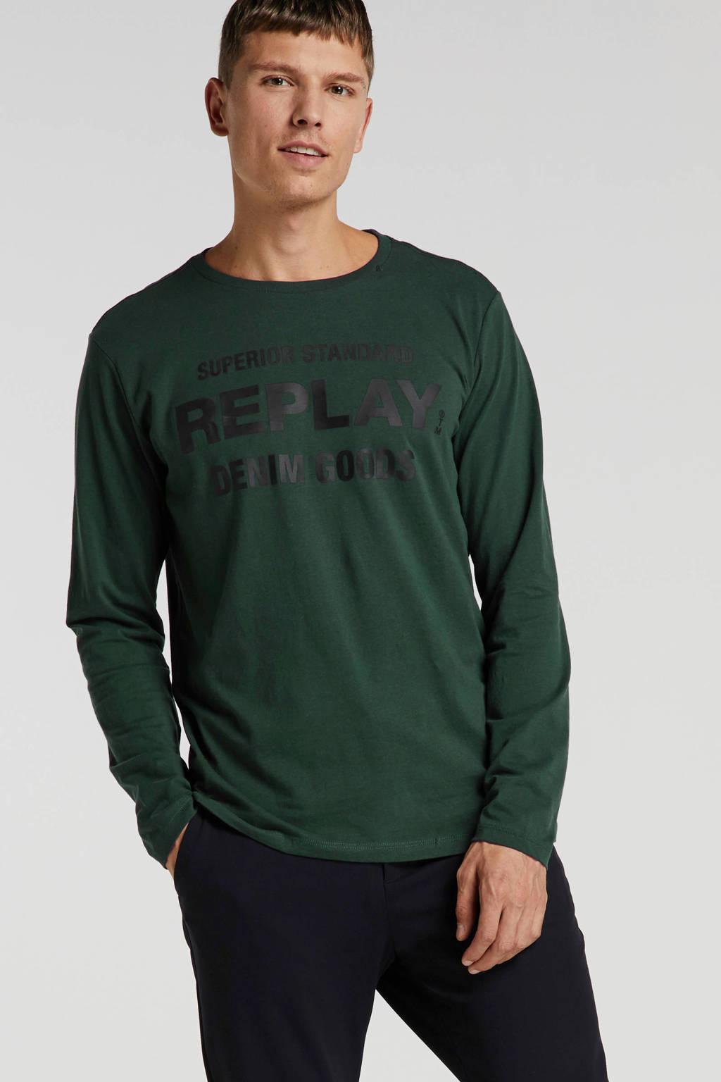 REPLAY T-shirt met printopdruk donkergroen, Donkergroen