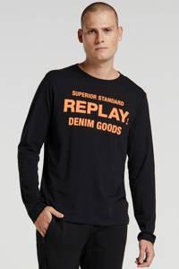 REPLAY T-shirt met printopdruk zwart/oranje, Zwart/oranje