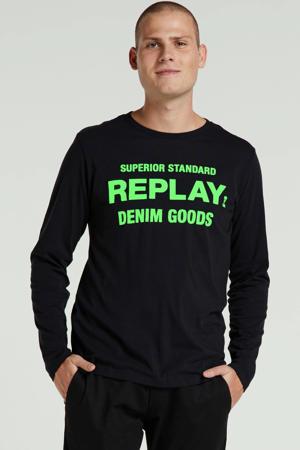 T-shirt met printopdruk zwart/groen