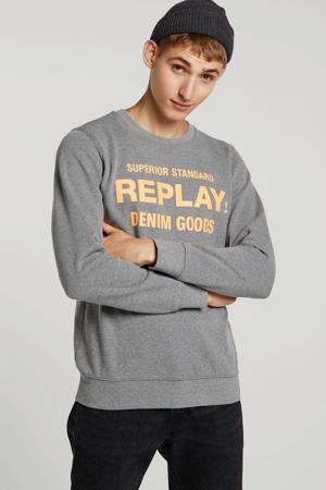sweater met tekst grijs/oranje