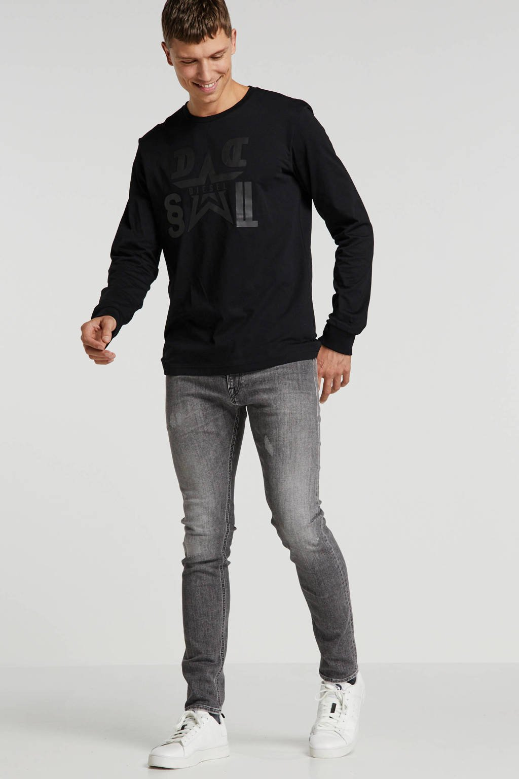 REPLAY skinny jeans Jondrill met slijtage grey, Grey