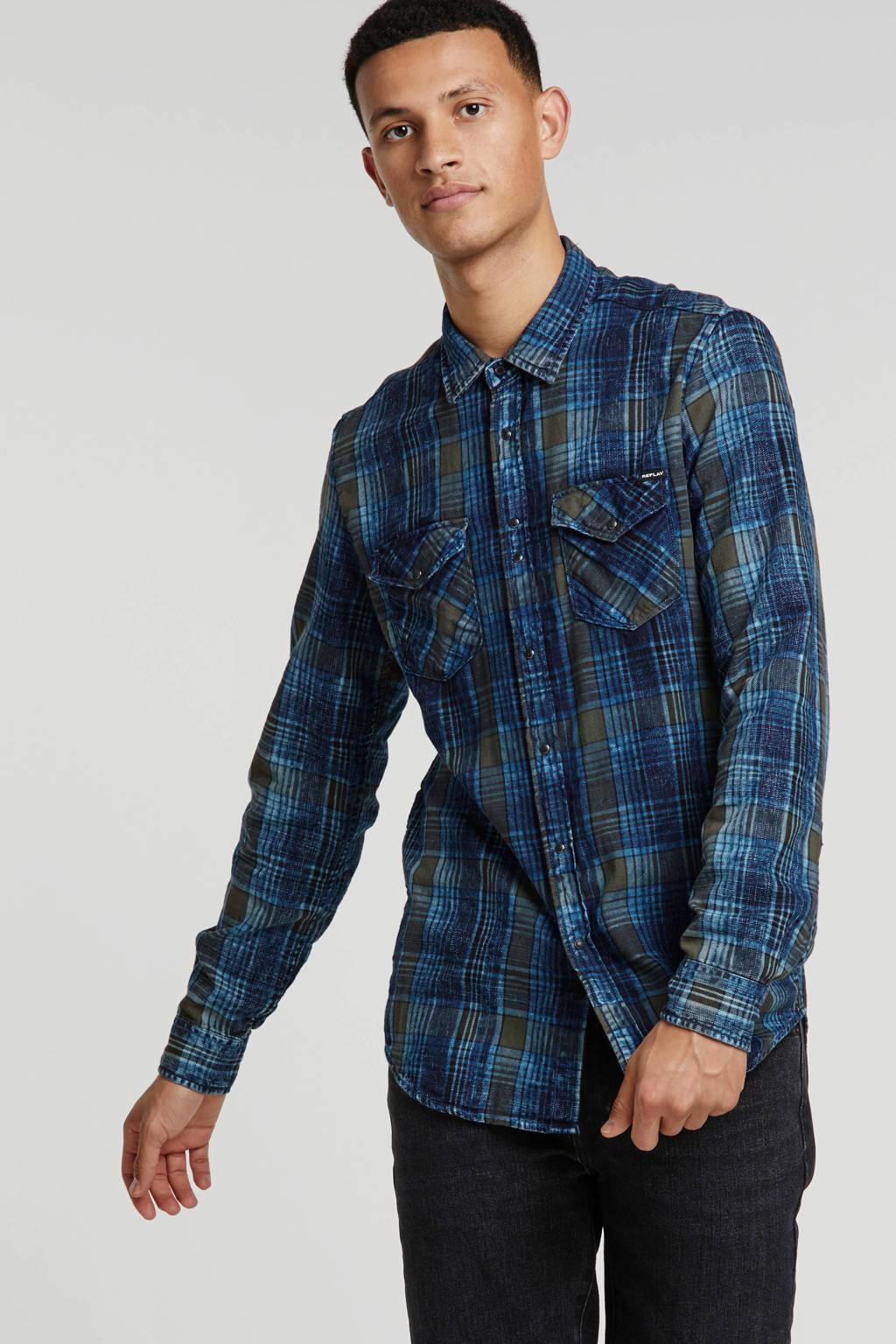 REPLAY geruit regular fit overhemd donkerblauw, Donkerblauw