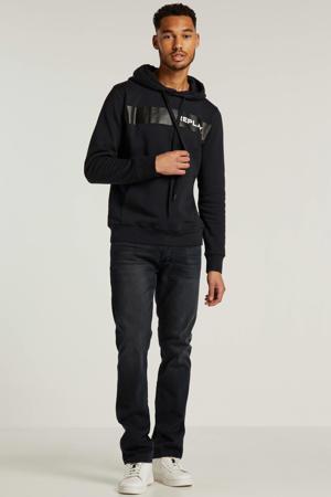 hoodie met logo donkerblauw/grijs