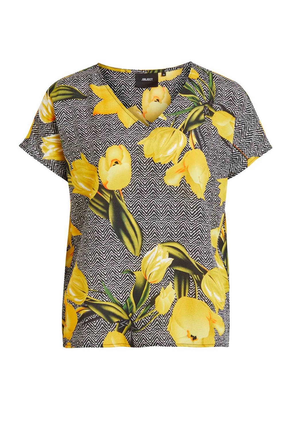 OBJECT T-shirt met bloemenprint zwart, Zwart/geel