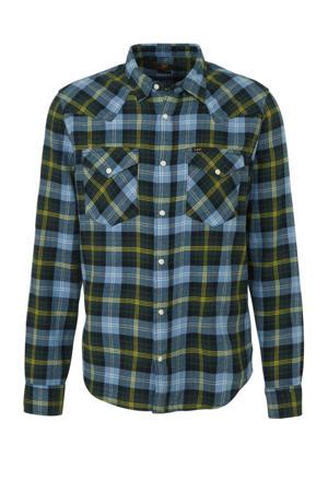 geruit regular fit overhemd blauw/groen