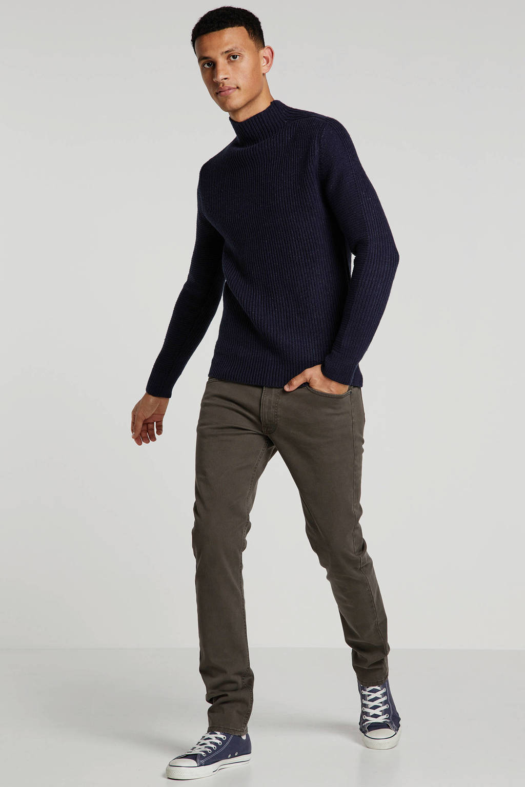 Lee tapered fit broek Luke, Donkergroen