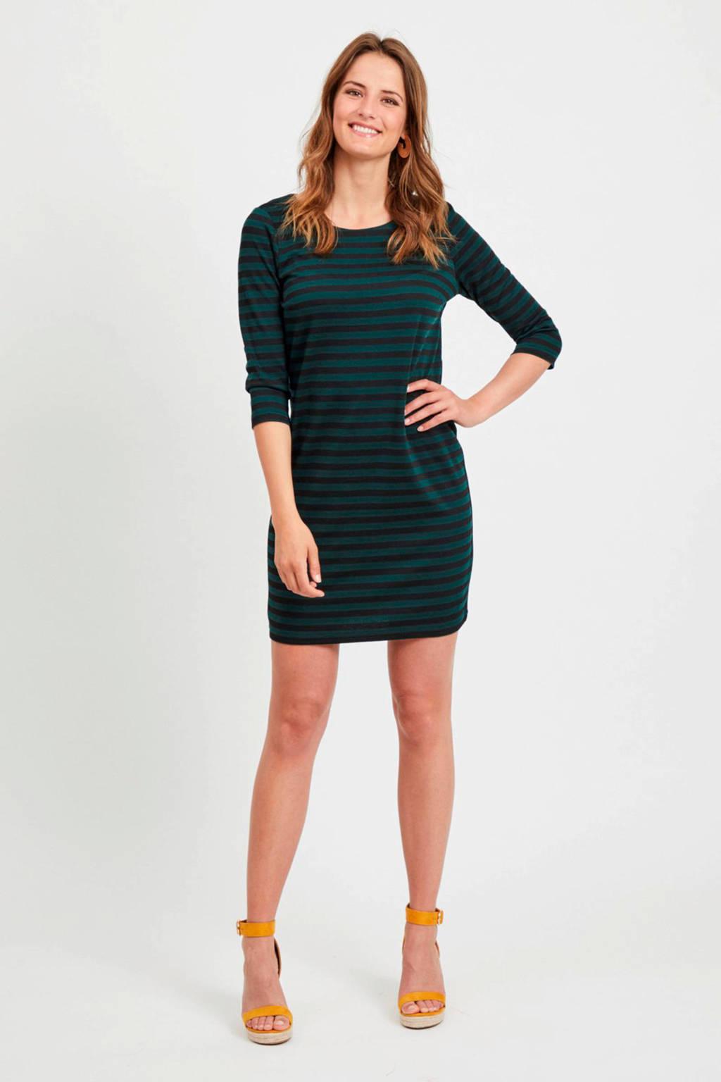 VILA jersey jurk zwart/groen, Zwart/groen
