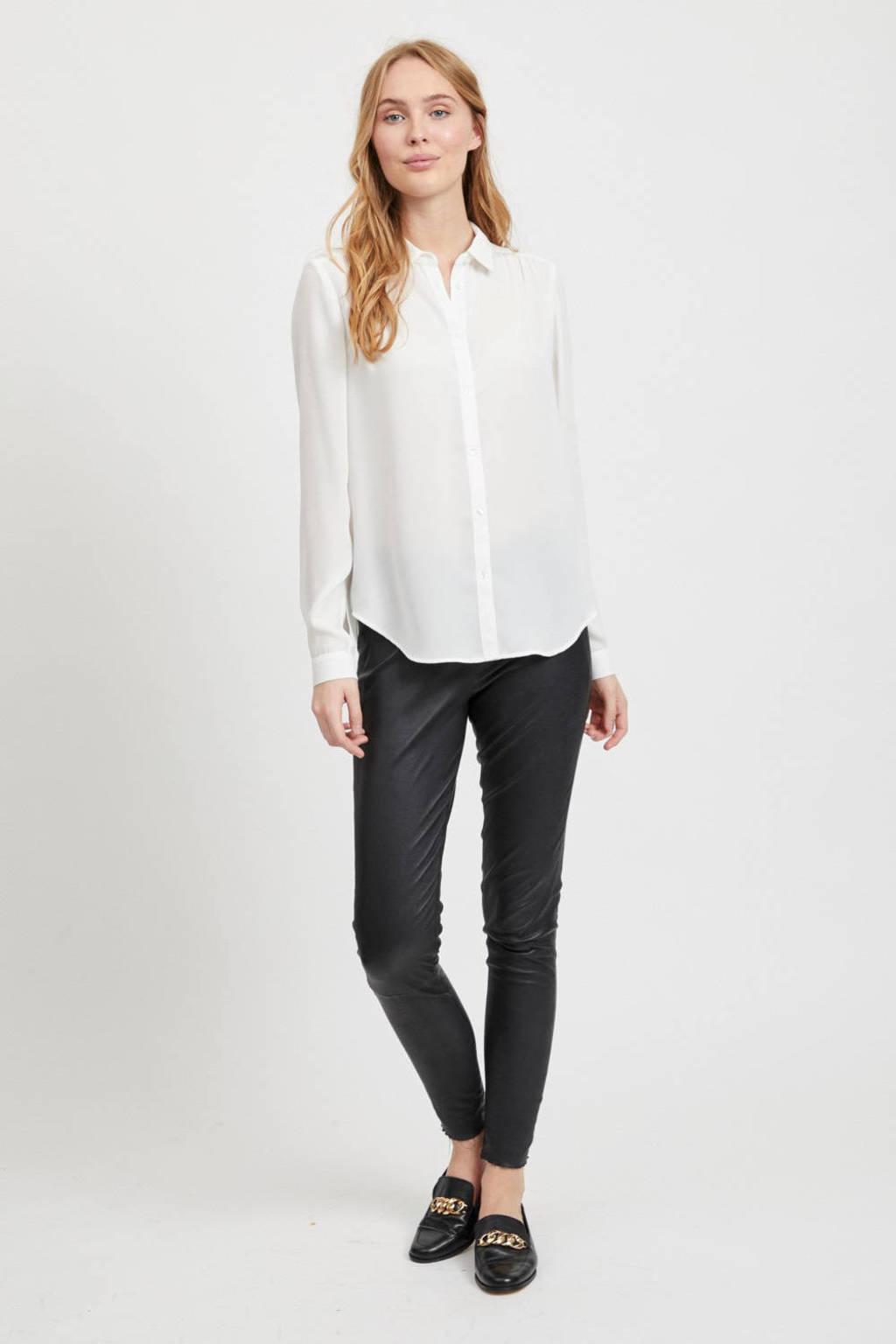 VILA blouse met plooien ecru, Ecru