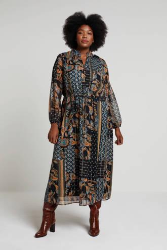 jurk met paisleyprint zwart