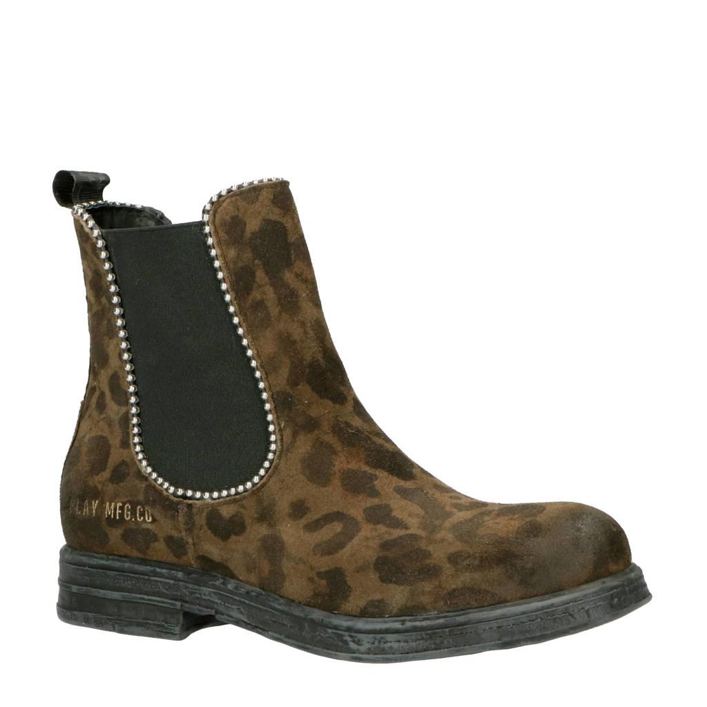 REPLAY   Sade Yuda suède chelsea boots panterprint, Bruin/zwart