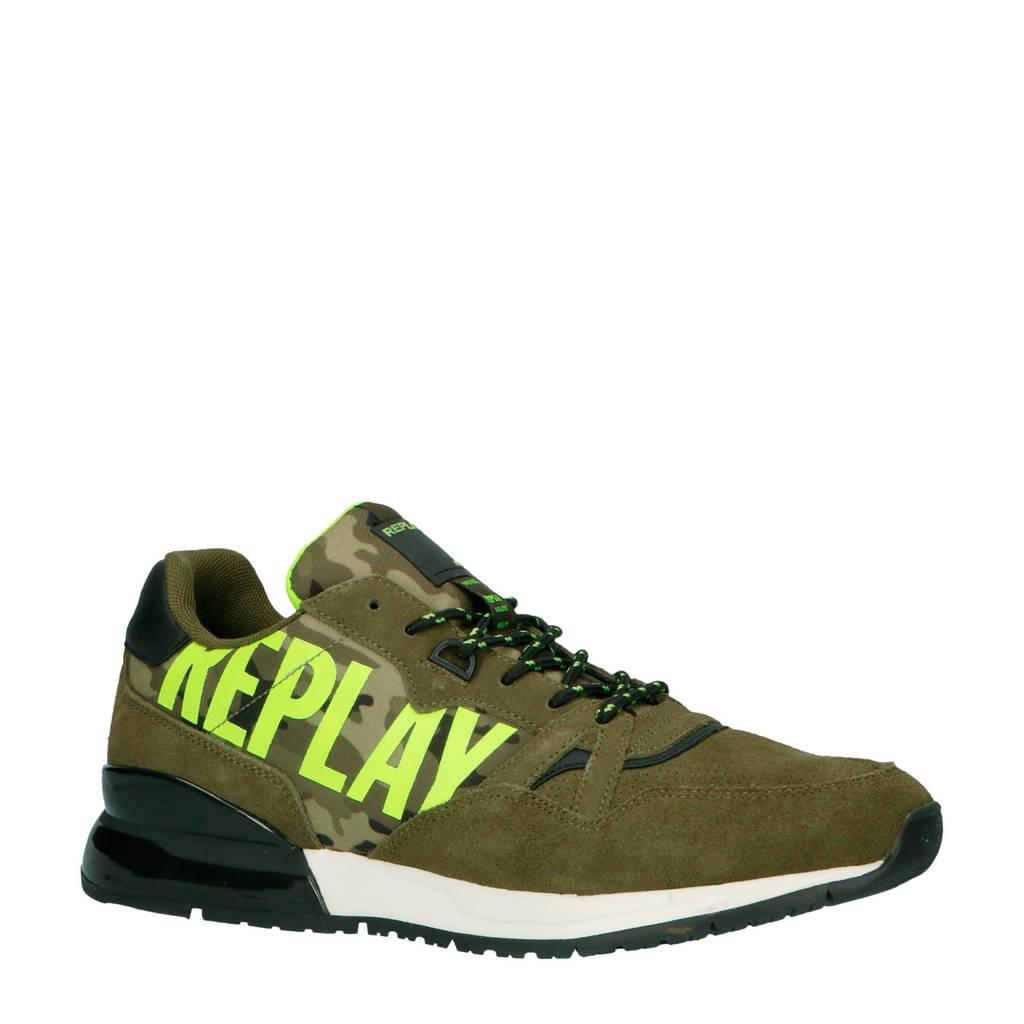 REPLAY  Shoot suède sneakers camouflage, Groen
