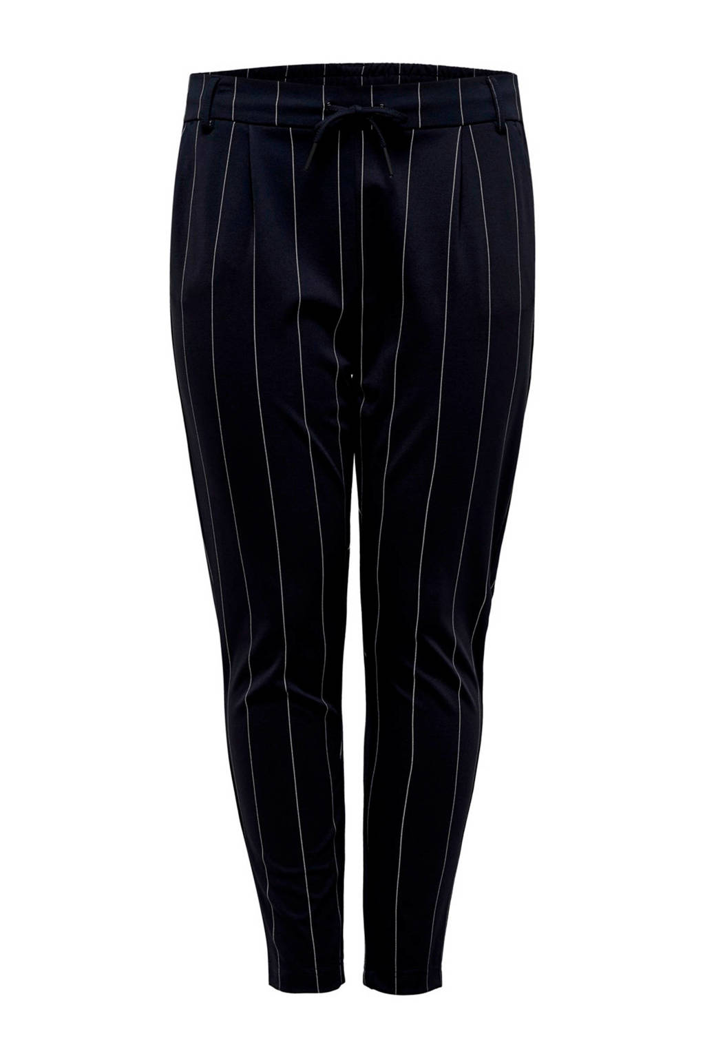 ONLY carmakoma gestreepte tapered fit broek donkerblauw/wit, Donkerblauw/wit