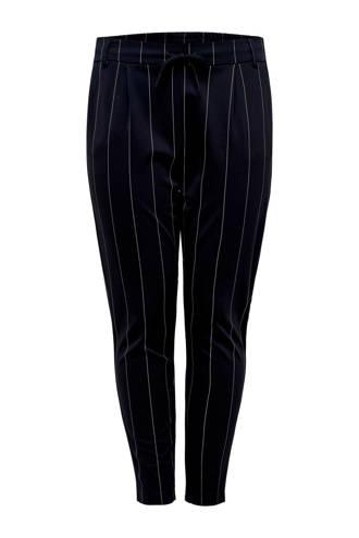 gestreepte tapered fit broek donkerblauw/wit