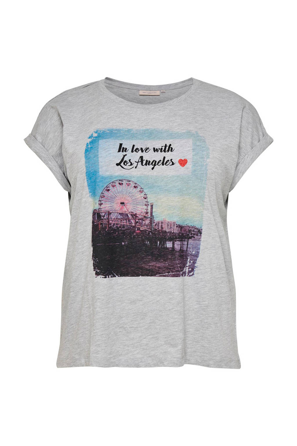 ONLY carmakoma T-shirt met printopdruk grijs, Grijs