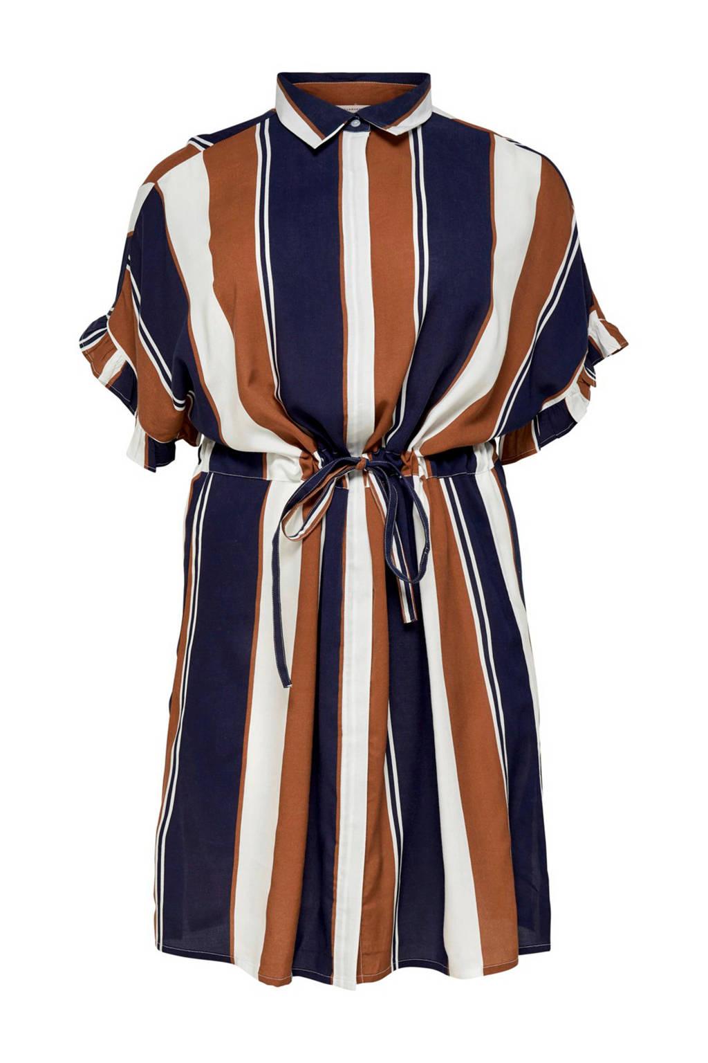 ONLY carmakoma gestreepte jurk met strikceintuur, donkerblauw/bruin/ecru