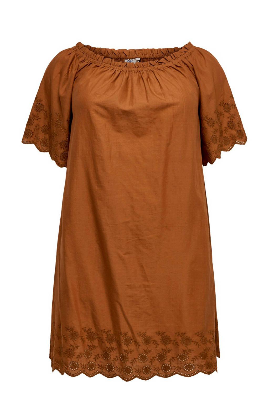 ONLY carmakoma off shoulder jurk bruin, Bruin