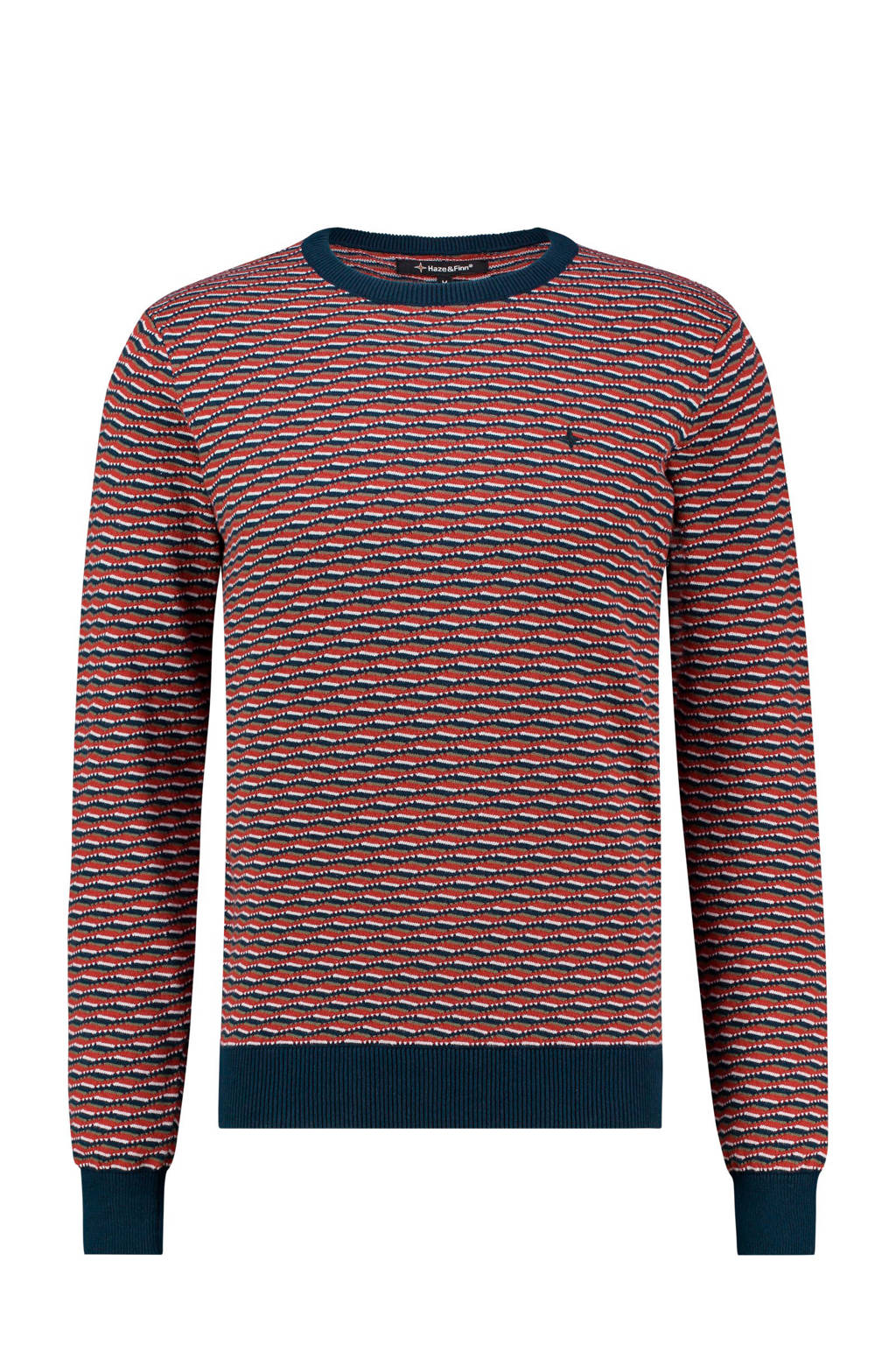 Haze & Finn trui met all over print rood, Rood/blauw/wit
