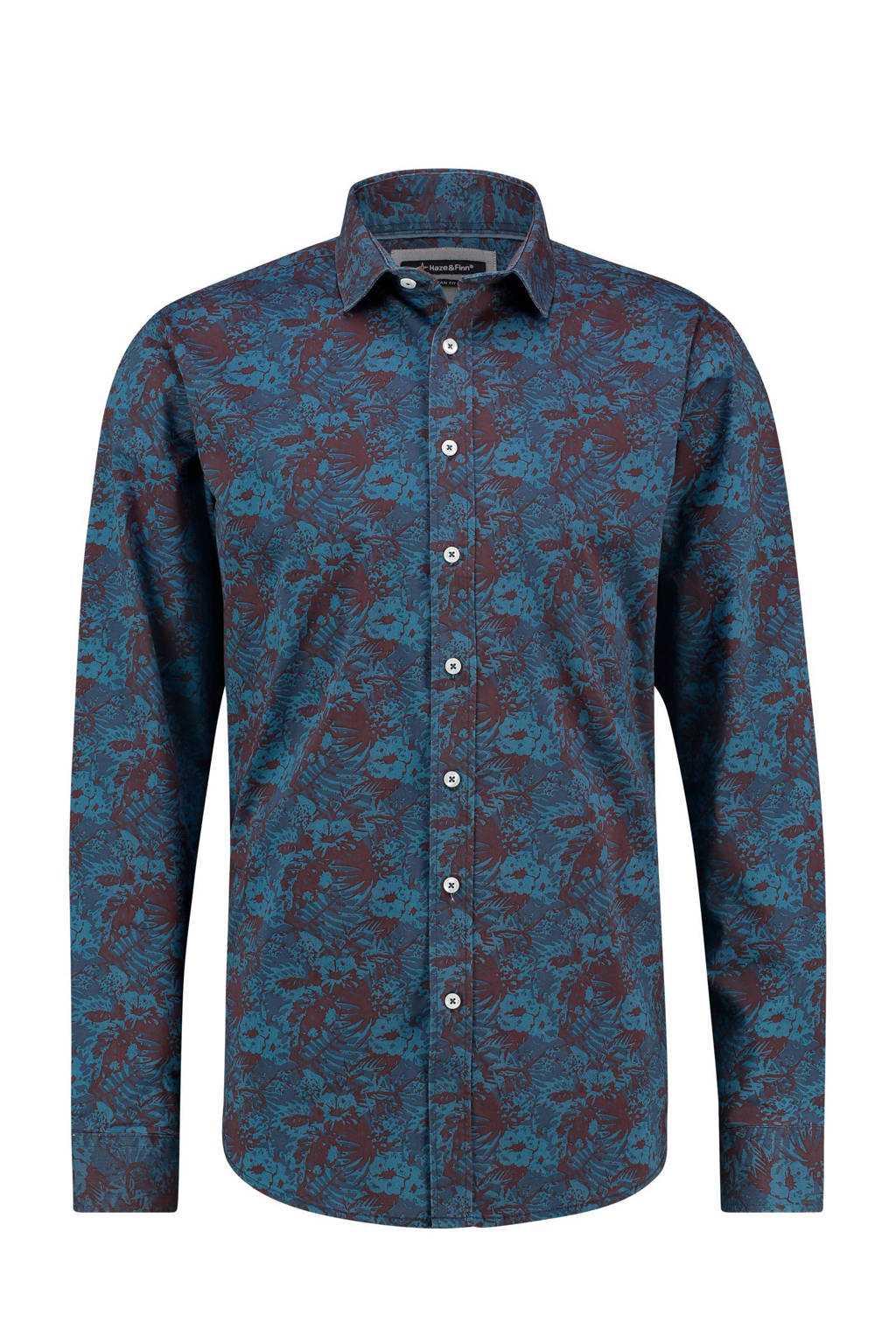 Haze & Finn overhemd met all over bladprint blauw, Blauw/bruin