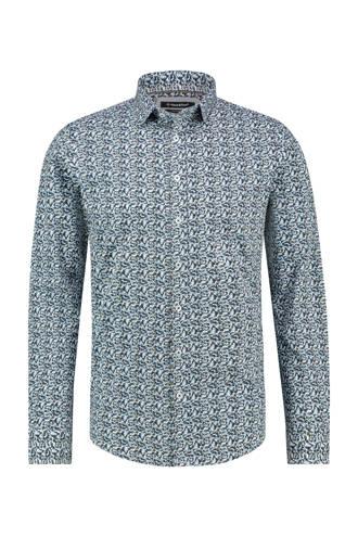 overhemd met all over print lichtblauw