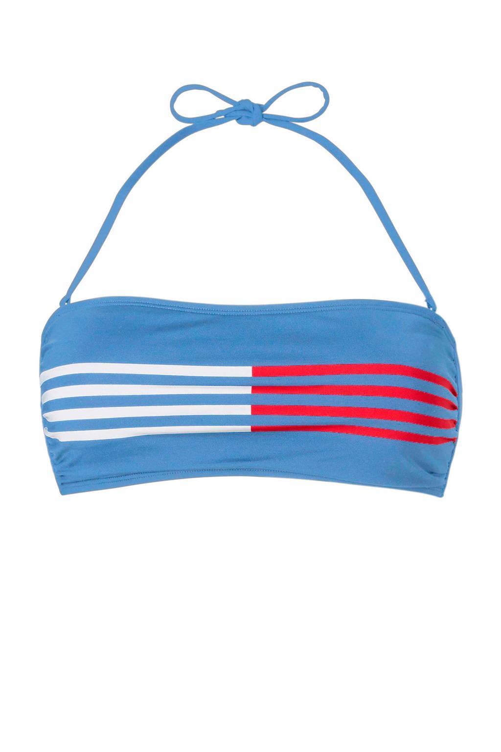 Tommy Hilfiger bandeau bikinitop met strepen lichtblauw, Lichtblauw/wit/rood