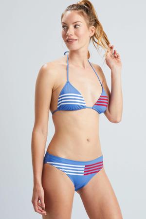 triangel bikinitop met strepen lichtblauw