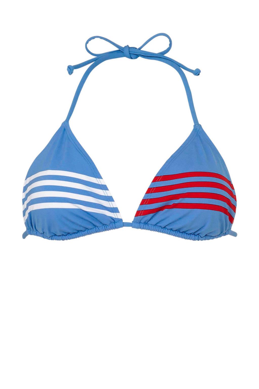 Tommy Hilfiger triangel bikinitop met strepen lichtblauw, Lichtblauw/wit/rood