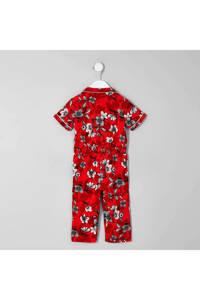 River Island gebloemde jumpsuit rood, Rood/wit/zwart
