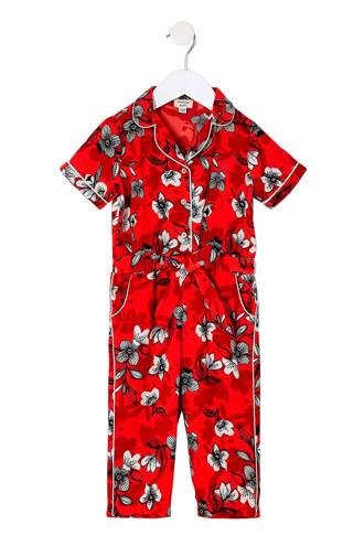 gebloemde jumpsuit rood