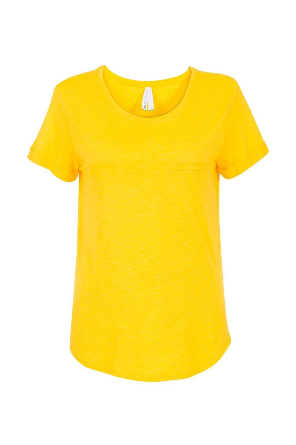 Miss Etam Regulier T-shirt met borstzakje geel, Geel