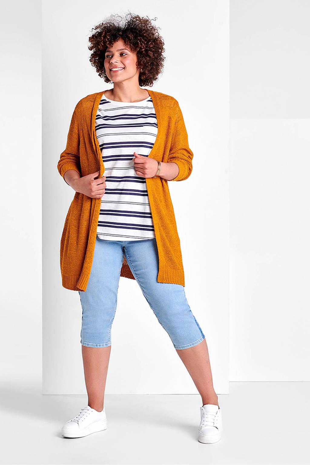 Miss Etam Plus gestreept T-shirt met borstzakje, Blauw/wit