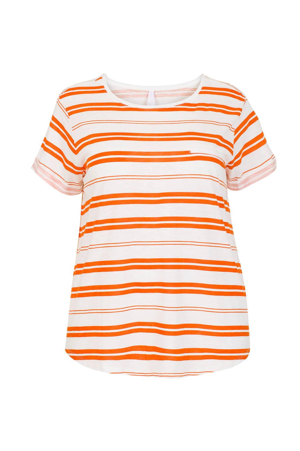Miss Etam Plus gestreept T-shirt met borstzakje, Oranje/wit