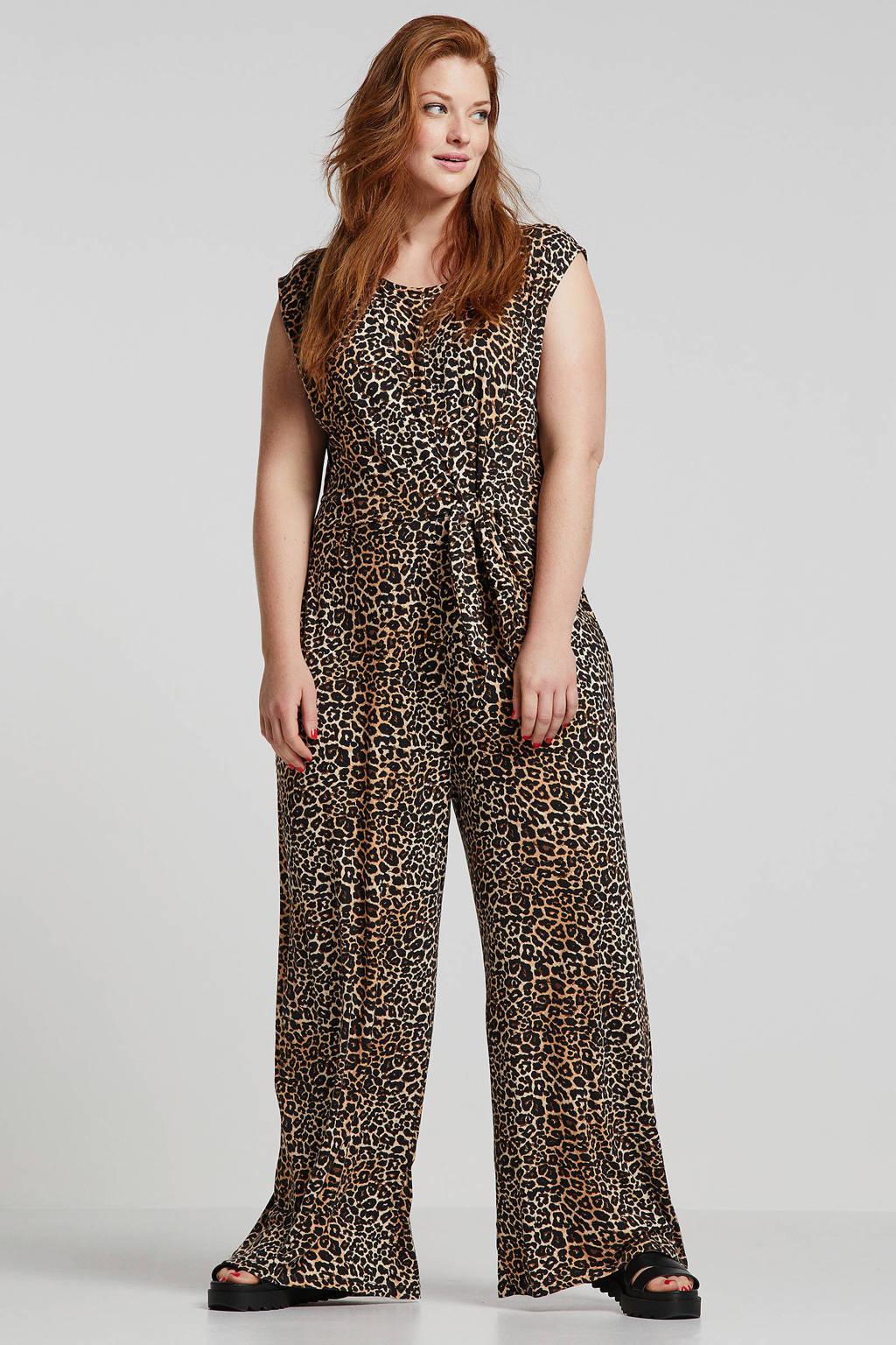 ONLY carmakoma jumpsuit met panterprint bruin/zwart, Bruin/zwart