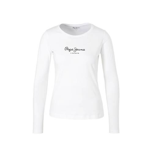 Pepe Jeans longsleeve met logo wit