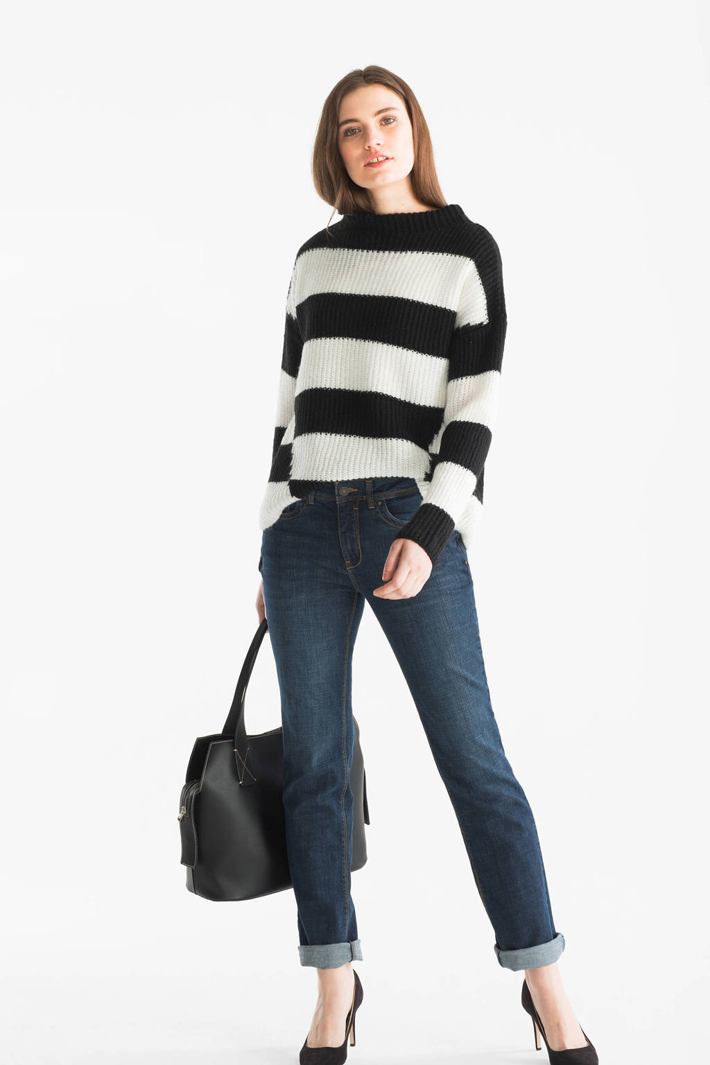 C&A The Denim straight fit jeans, Donkerblauw