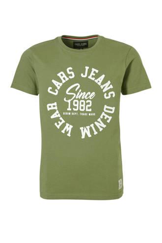 T-shirt met tekst legergroen