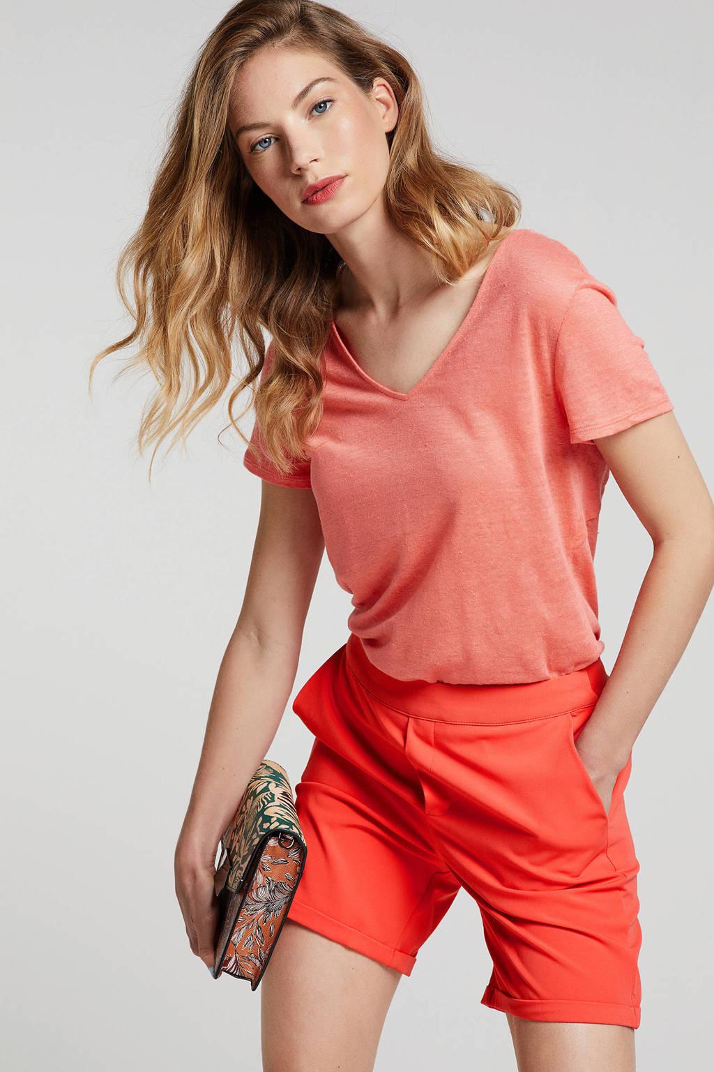 ESPRIT T-shirt met knoopdetail, Koraalrood
