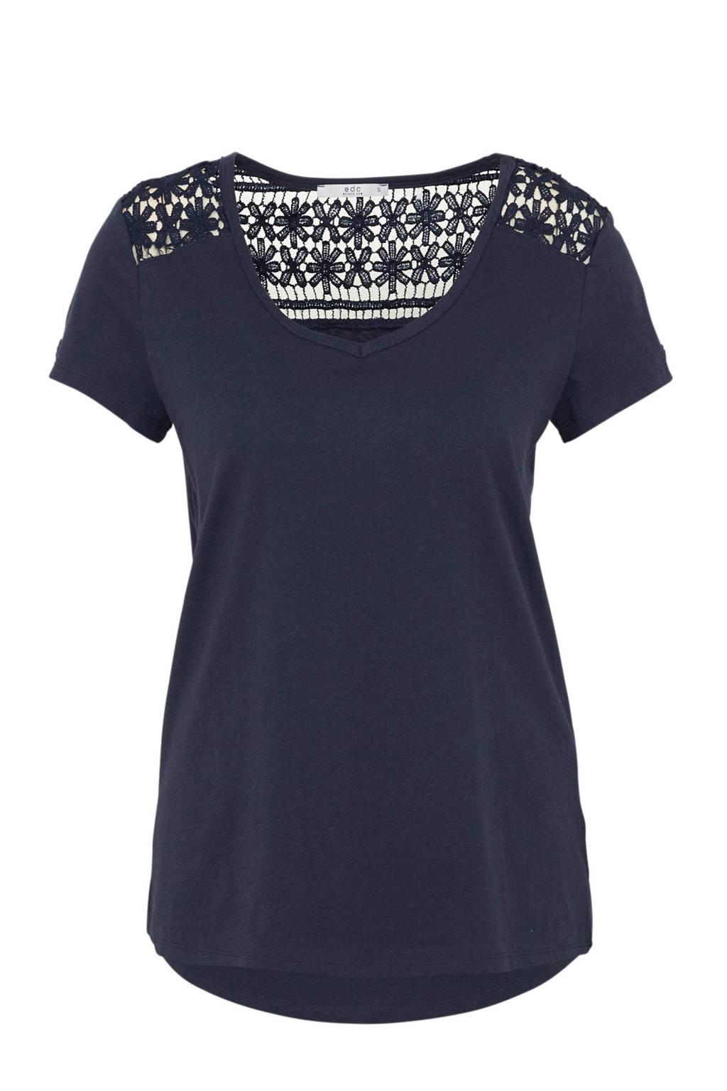 ESPRIT T-shirt met crochet donkerblauw, Donkerblauw