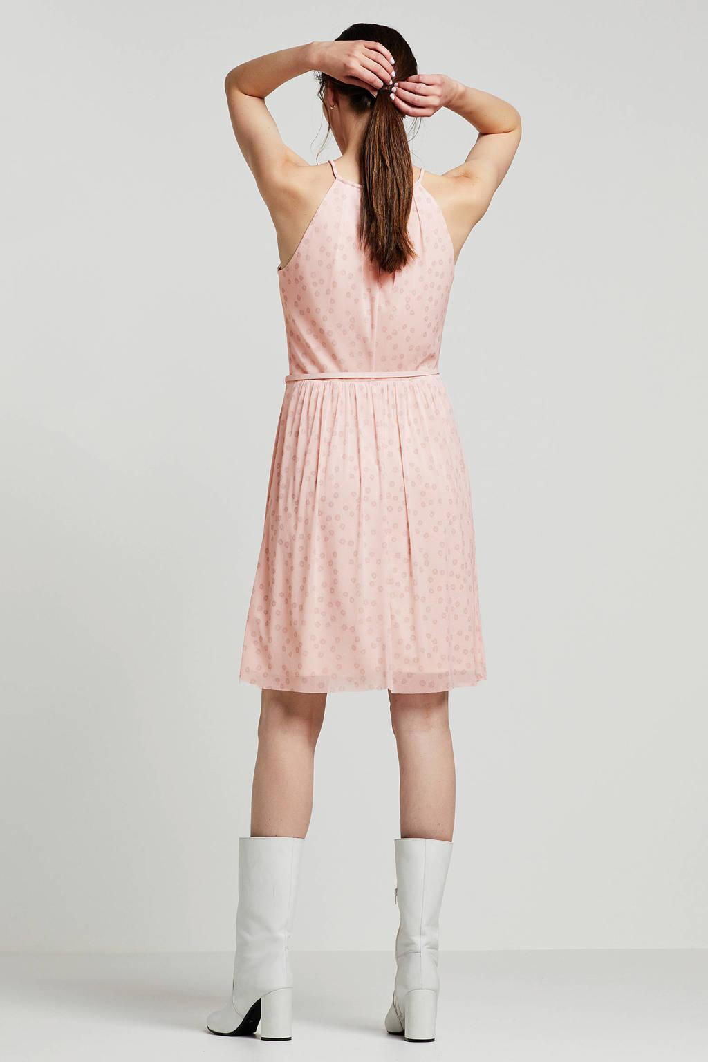 ESPRIT jurk met panterprint en ceintuur roze, Roze/grijs