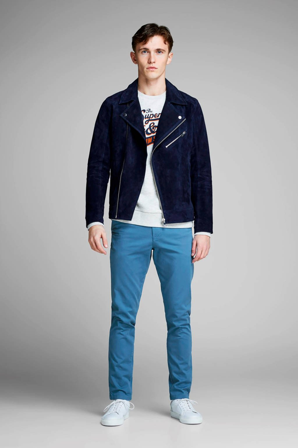JACK & JONES slim fit chino Marco blauw, Blauw